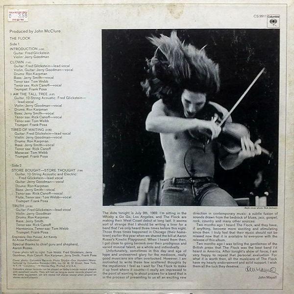'The Flock' (1969) - η πίσω όψη του δίσκου