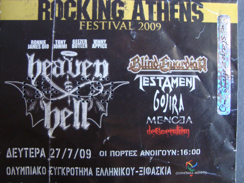 Heaven And Hell ticket, Athens